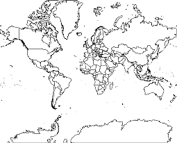World Map Outline Mercator Projections Lossless Scalable AIPDF - Global map outline