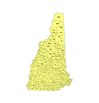 Editable Royaltyfree Map Of New Hampshire NH In Vectorgraphic - New hampshire zip code map