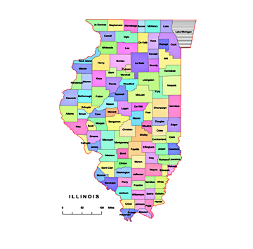 Preview Of Illionis County Vector Map Colored Ai Pdf 300 Dpi Jpg
