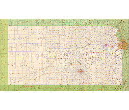 Editable Royaltyfree Map Of Kansas KS In Vectorgraphic Online - Kansas map us