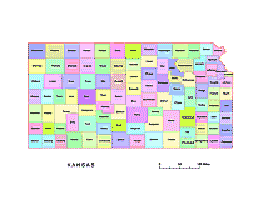 Kansas Vecto County Map Colored