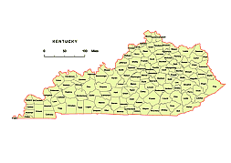 Editable royaltyfree map of Kentucky KY in vectorgraphic online