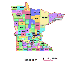 Preview Of Minnesota County Map Colored