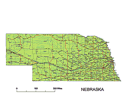 Editable Royaltyfree Map Of Nebraska NE In Vectorgraphic Online - State map of nebraska