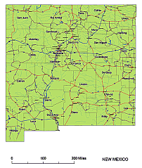 Editable Royaltyfree Map Of New Mexico NM In Vectorgraphic - Nm road map