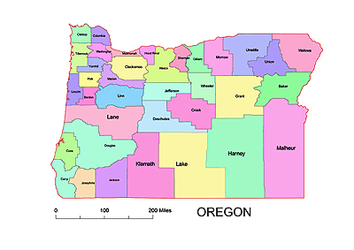 Oregon County Map Colored