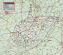 West Virginia State County Map 10mb