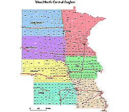 Counties Of West North Central Division 7 States County Map