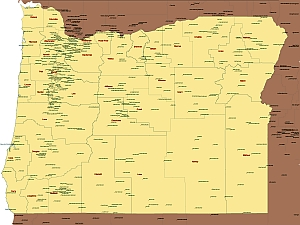 Editable Royaltyfree Map Of Oregon OR In Vectorgraphic Online - Oregon map us