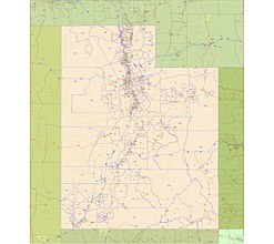 Utah Zip Code Vector Map 2015