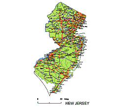 Editable Royaltyfree Map Of New Jersey NJ In Vectorgraphic - Nj road map